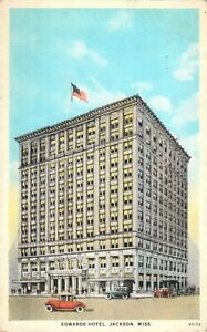 Edwards-Hotel-Jackson-MS-Old-Cars-Automobiles-Thoroughly-Fireproof-1925-Postcard