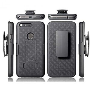 For-Google-Pixel-XL-BLACK-HARD-SHELL-COVER-COMBO-CASE-BELT-HOLSTER-KICKSTAND