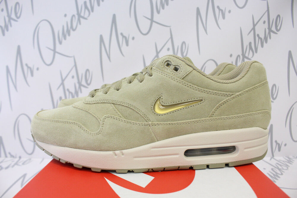 NIKE AIR MAX 1 JEWEL PREMIUM SC SZ 9.5 NEUTRAL OLIVE GOLD SAND 918354 201