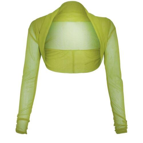 New Ladies Plus Size Cropped Long Sleeve Bolero Shrug Sheer Mesh Cardigan 8-22