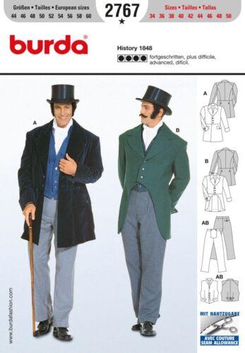 burda para hombre traje histórico 2767 de patrón de costura 1848 Fancy d... Gratis Reino Unido P/&p