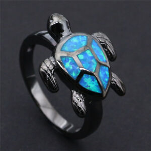 a1869d6f94 Fashion Ocean Blue Fire Opal Turtle Black gold fill Ring Men Womens ...