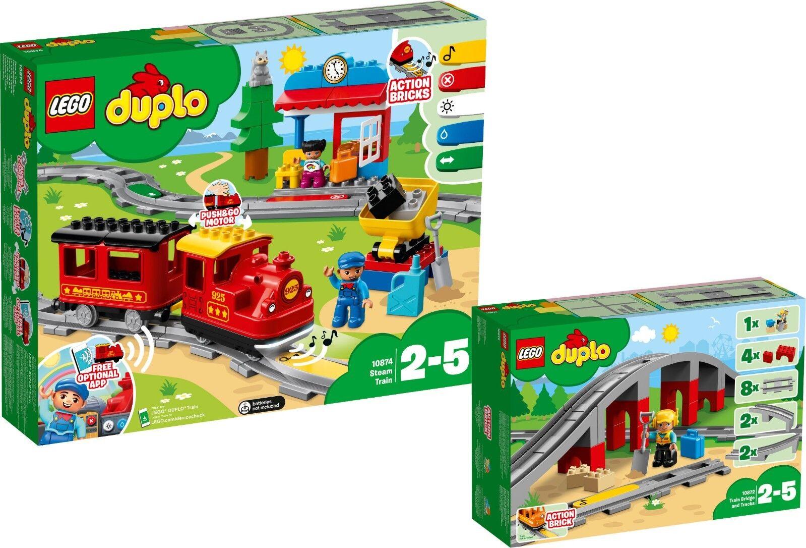 LEGO DUPLO 10874 10872 vapeur pont de chemin de fer avec rails n9 18