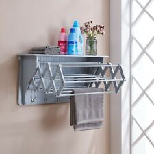 Gray Wall Mount Folding Accordion Clothes Dryer Rack with 5 Hooks-Danya B™