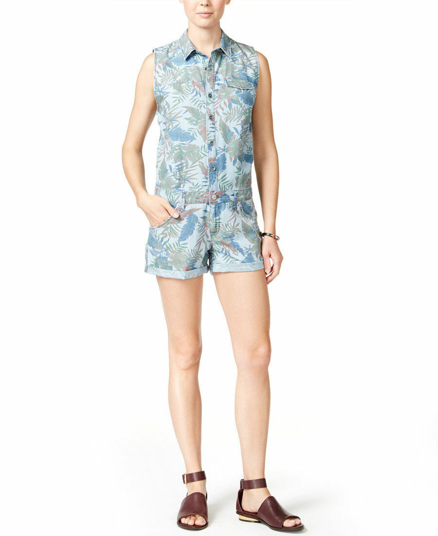 220 NWT HUDSON SzM HARMONY SLEEVELESS BUTTON FRONT ROMPER FOREST PRINT