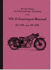 NSU NSU-D 351 und 501 OSL Bedienungsanleitung Betriebsanleitung Handbuch Manual