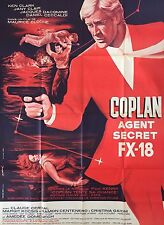 "Original rare French movie poster ""Coplan, agent secret FX18"" huge 47x63"
