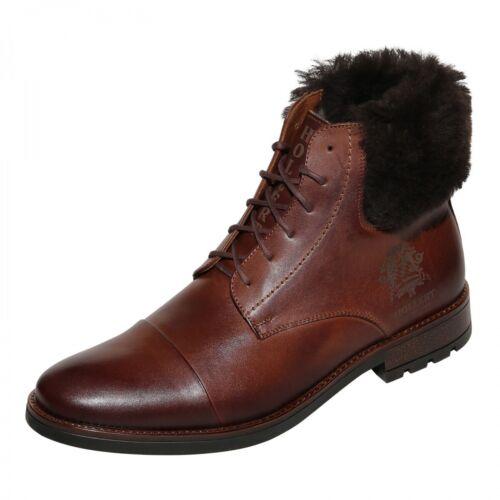 Hombre Zapatos de Calle Botines Cordones Modelo 1706 Botas Cuero Auténtico Oveja