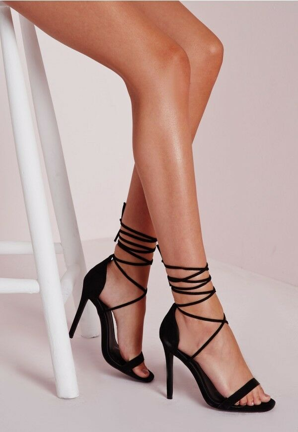 Missguided Women's LaceUp Barely There Heeled Black Ladies Sandals~BrandNew Sz-9