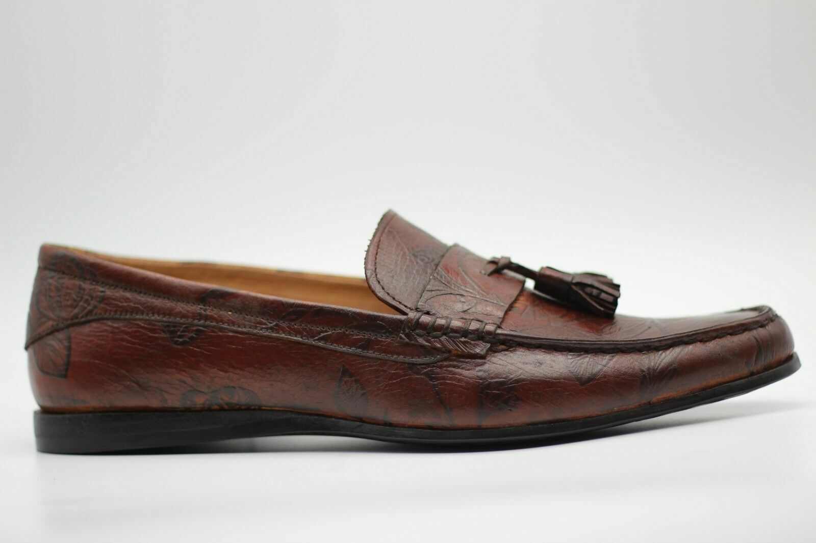 Handgemachte braune bedruckte Leder Quasten Mokassin formale Slip Ons Schuhe