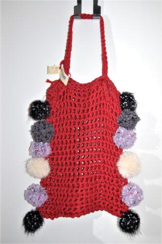 Filet Pompons Phildar Maille Orné Bohème Tricoté Poilu Main Sac Crochet Ethnique xwCH6IIg