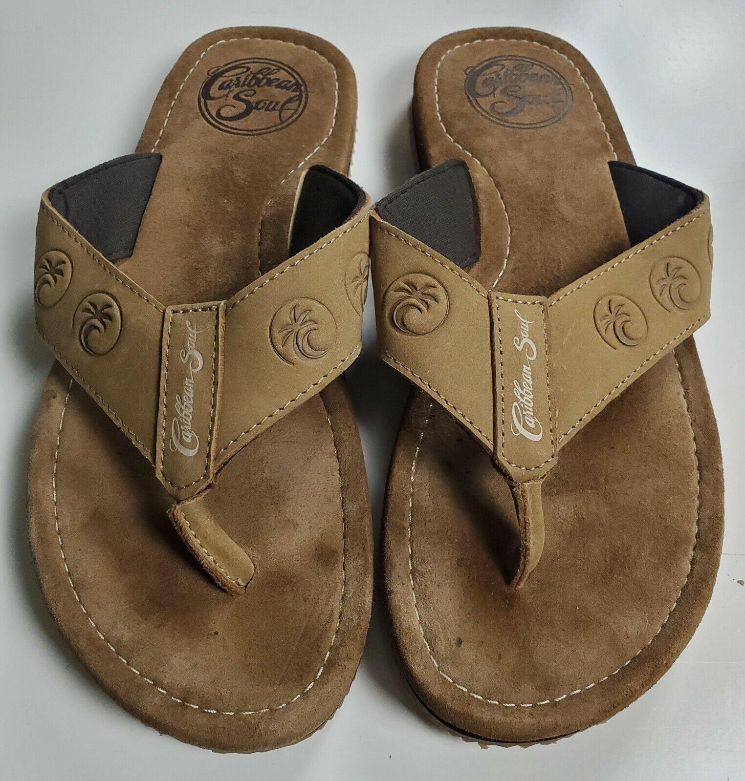 Caribbean Soul Men's Brown Faux Suede Thong/Flip Flop Sandals Size 8