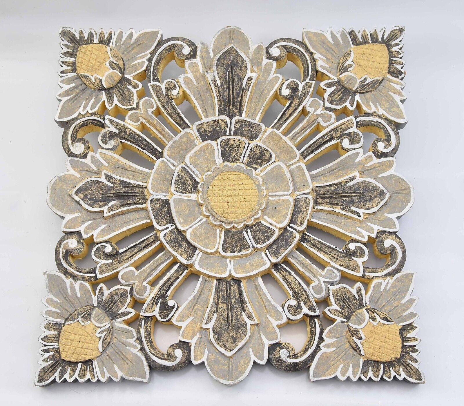 Mandala avec fleurs motif en bois in 50cm taille