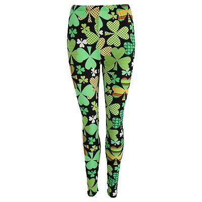 St Patricks Day Irish Leprechaun Shamrocks Soft  3X-5X Size Adult Leggings
