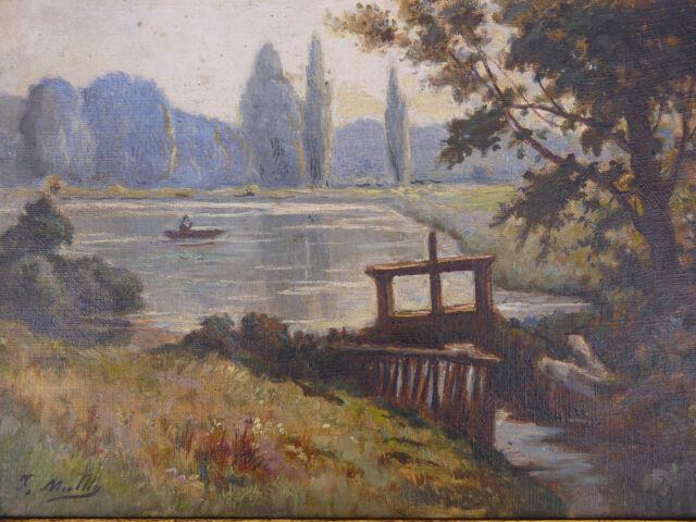 Oil on Canvas Landscape Lake Barque towards 1930 Frame Vintage