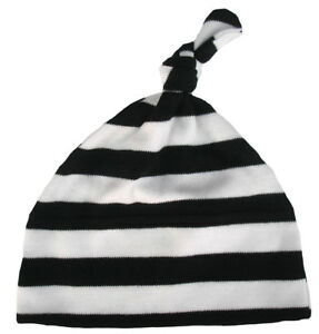 Baby-Striped-Hat-034-Black-amp-White-Stripes-034-Stripey-One-Knot-Soft-Cotton