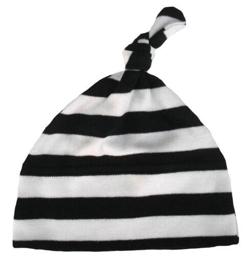 "Baby Striped Hat /""Black /& White Stripes/"" Stripey One Knot Soft Cotton"