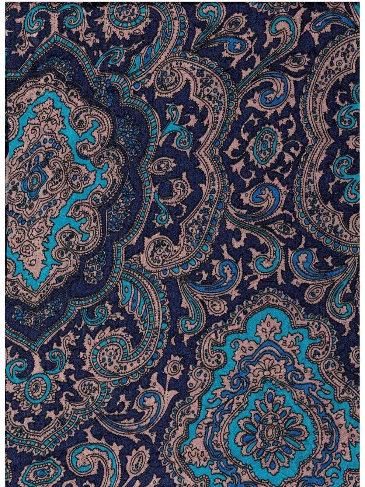 XL 42  Inch Paisley bluee gold Silk Wild Rags  order online