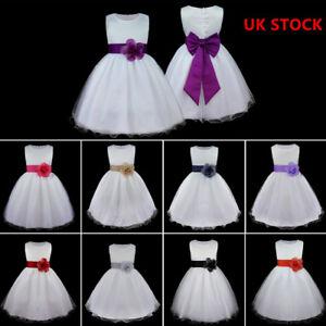 UK-Flower-Girl-Princess-Party-Dress-Sash-Dress-Wedding-Bridesmaid-Bow-Tutu-Dress