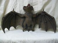 Big Creepy Flying Vampire Bat Hanging Haunted Halloween Prop Giant Over 2' Wide