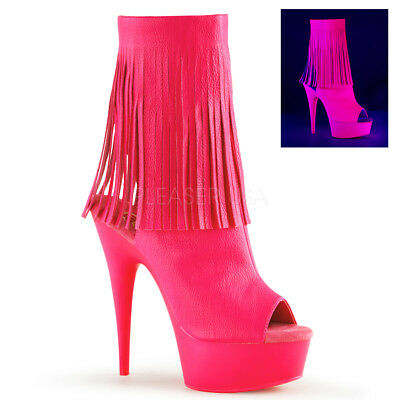 100% genuine wholesale dealer cheap sale Neon Pink Platform Ankle Boots Heels Stripper Pole Dancer Shoes Pleaser  Delight | eBay