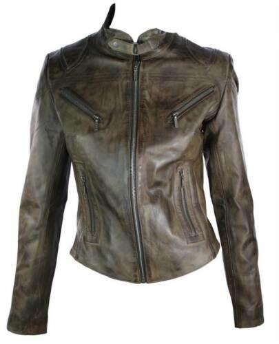 100/% Ladies Real Leather Jacket Fitted Bikers Style Vintage Brown Rock