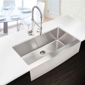 ... 034-Stainless-Handmade-Farmhouse-Apron-Front-Single-Bowl-Kitchen-Sink