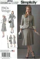 Simplicity 8242 Misses'/women's Dress Retro 1940's Sewing Pattern