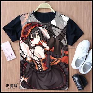 Cosplay DATE A LIVE Kurumi Tokisaki Anime T-Shirt Kostüme Polyester Schwarz Neu