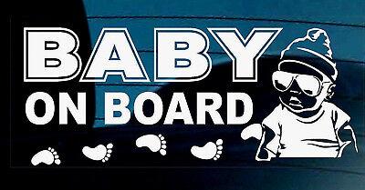 Baby A Bordo Adesivo Decal Segno Auto Finestra Sicurezza Riutilizzabile Boy Impronte +-