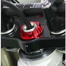 Honda CB900 Hornet 2001-2007 Billet Steering Stem Nut TOP YOKE Head Bolt CNC RED