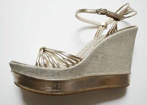 Details Zu Fornarina Luxus Wedges 36 Keil Sandalen Gold Bronze Hochzeit Braut Slingback