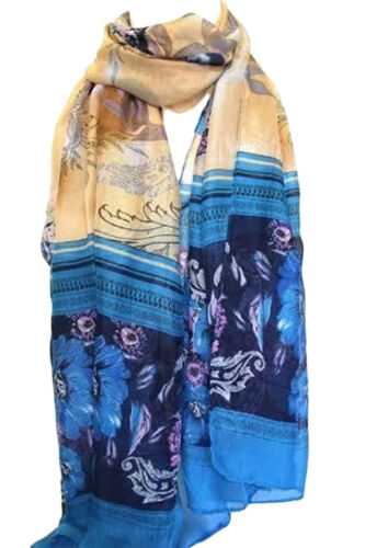Brown and Blue Exotic Floral Print Large Maxi Scarf Stole Sarong Scarves Hijab