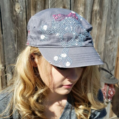 Olive /& Pique Studded Skull /& Bones with Bow Cap Hat NEW Black or White