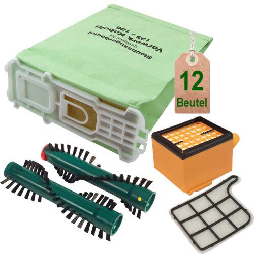 12 sacs pour aspirateur filtres sacs Filtres Brosses adapté vorwerk kobold 136 eb360