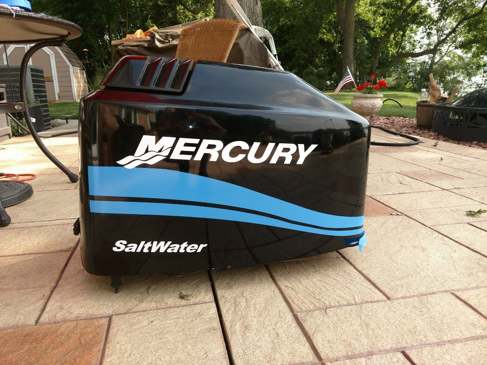 MERCURY BOAT MOTOR COWL DECAL SET  Saltwater Series bluee Stripe + Size Choices