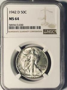 1942-D Walking Liberty Half Dollar - NGC MS-64 - Mint State 64