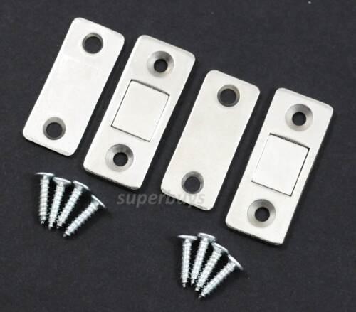 2 Pair Thin Profile Magnetic Latch Catch Cabinet Cupboard Door Magnet Striker