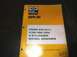 Ford 2 8l 3 1l 172 192 Cubic Inch Diesel Engines Parts Manual 172 192 Cid Ebay