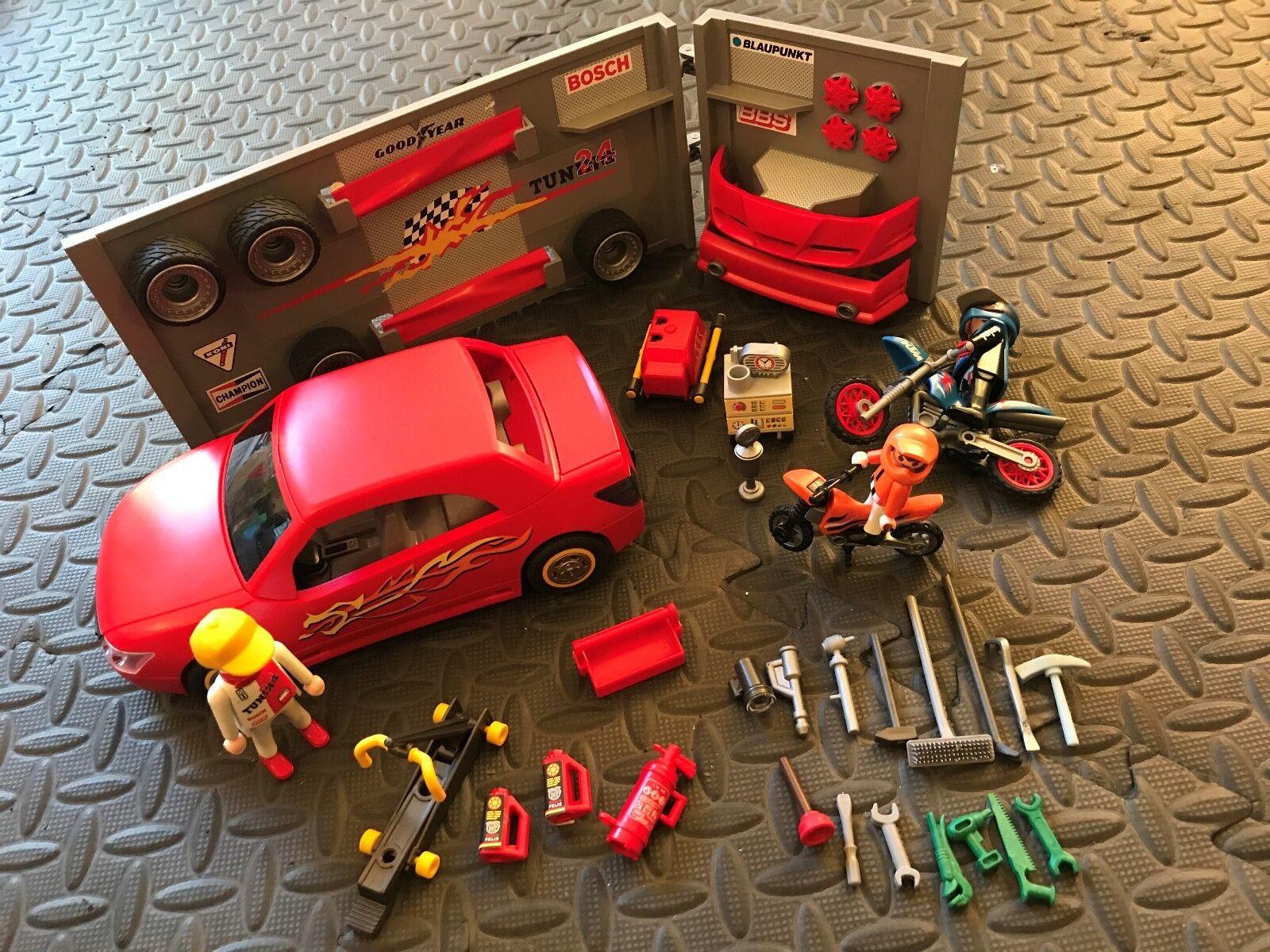 PLAYMOBIL Auto Officina Set RIF: 4321 + BOSCH/KTM & mini moto trials
