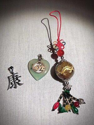 Gewissenhaft Anhänger Kette Auto China Japan Asien Drache Herz Schriftzeichen Jade Stein