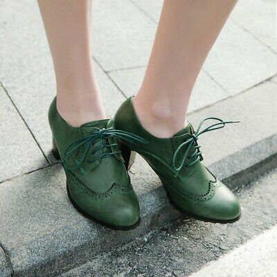 Details about  /Europe Women Lace Ups Outdoor Chunky Heel Oxfords Round Toe Shoes Casual 42 43 L