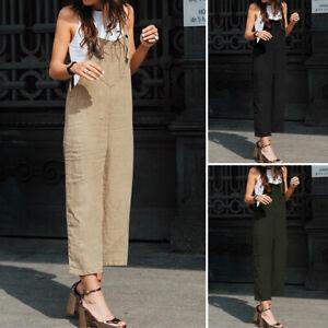 Coton-Femme-Combinaison-Simple-Casual-Poche-Ample-Pantalon-Jambe-Large-Plus