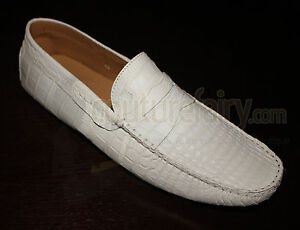 BN-WHITE-5-7K-TODS-GOMMINO-MOCCASINS-LOAFERS-EXOTIC-ALLIGATOR-CROCODILE-SKIN