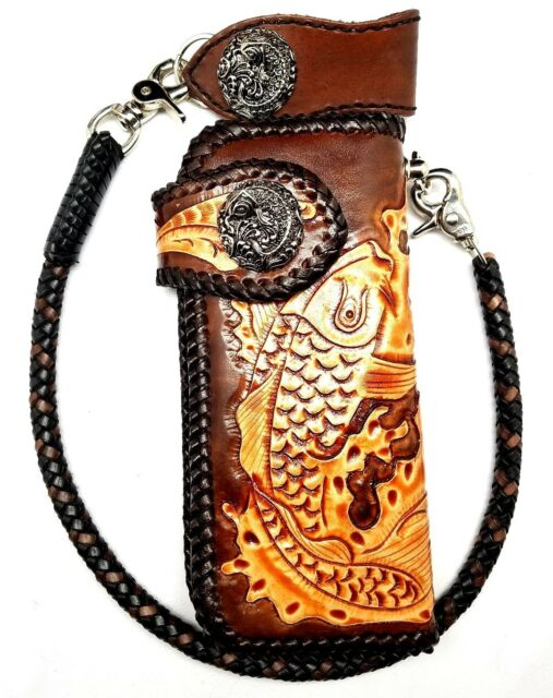 Biker Chain Wallet trucker Koi Fish Tattoo tooled engraved motorcycle Leather