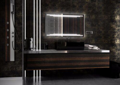 Nouveau Design multiled 140*70 ledspiegel miroir de salle Cosmétique Miroir Horloge HEIZMATTE