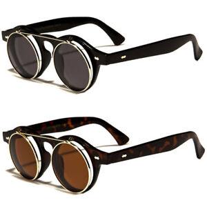3d1563a089e Cool Flip Up Lens Steampunk Vintage Retro Style Round Sunglasses ...