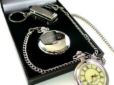 COACH BUS DRIVER Hunter Silver Custom Engraved POCKET WATCH & KEYRING Gift Set