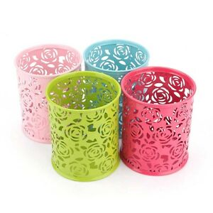 Metal-Hollow-Rose-Pen-Pencil-Pot-Container-Organizer-Makeup-Brush-Holder-Lovely