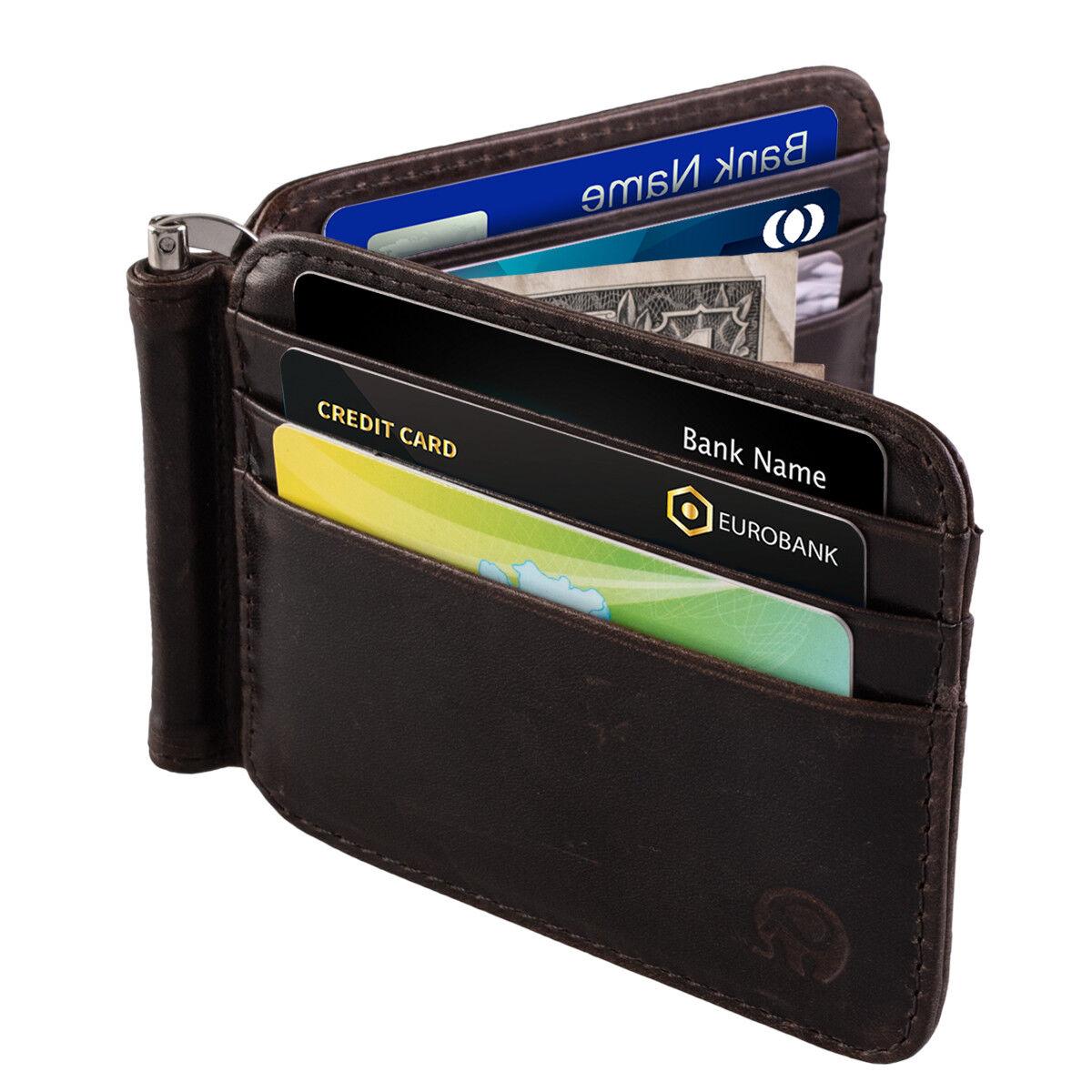 Slim Thin Mens Leather Wallet Money Clip Credit Card ID Holder Front Pocket